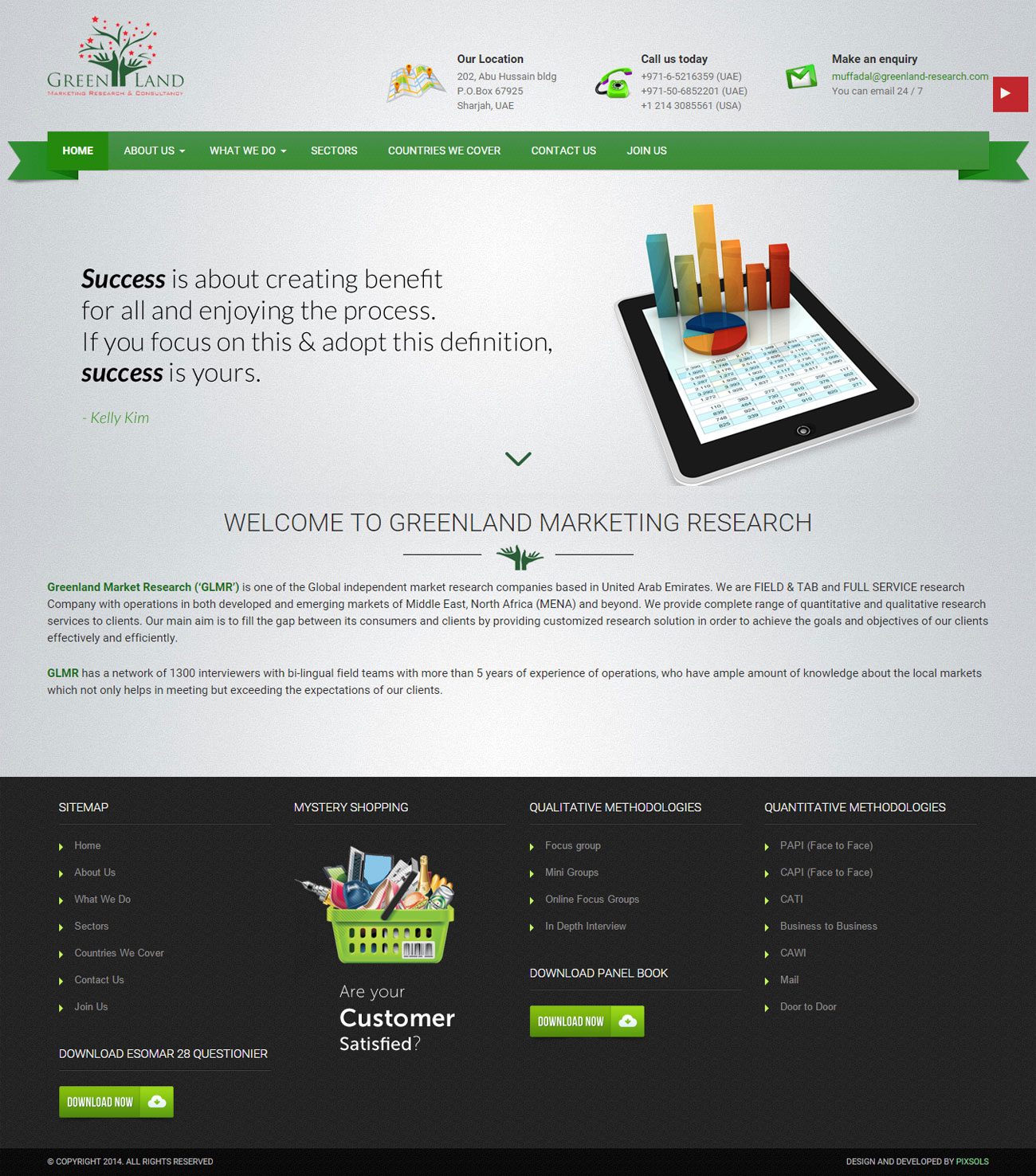 Greenland Marketing Research Homepage design