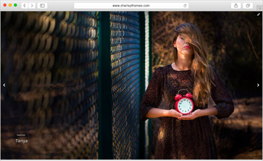 Full-width design of the homepage, girl holding red clock